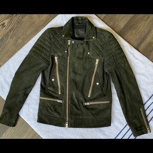 All Saints Mens Suede Leather Jacket